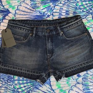 All Saints Dark Indigo Blue Denim Kim Shorts 27